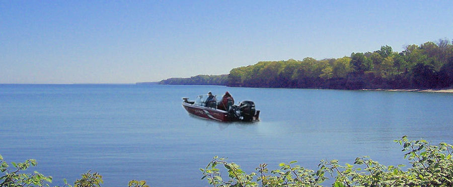 Boat Fishing on Lake Erie near Pine Lane Campground
